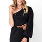 Czarna dzianinowa mini sukienka na jedno ramię