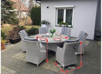 Zestaw mebli ogrodowych gabi stół + 6 foteli jasnoszary technorattan