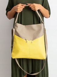 Torebka damska shopper bag 0008 beżowo żółta - beżowy