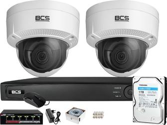 Zestaw monitoringu bcs view rejestrator ip 2x kamera fullhd bcs-v-di221ir3