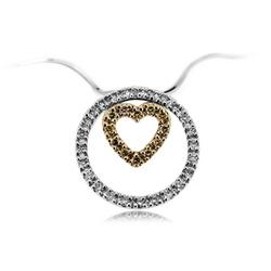 Staviori wisiorek. 24 diamenty, szlif brylantowy, masa 0,16 ct., barwa g-h, czystość si1. 12 diamentów, kolor szampański, szlif brylantowy, masa 0,07 ct.. żółte, białe złoto 0,750. średnica 20 mm.