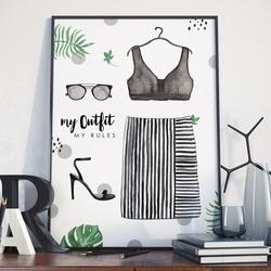 Plakat w ramie - my outfit my rules , wymiary - 70cm x 100cm, ramka - biała