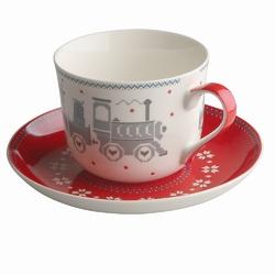 Filiżanka do kawy i herbaty  duża filiżanka jumbo porcelanowa ze spodkiem na boże narodzenie altom design laponia 380 ml mix 2 wzorów