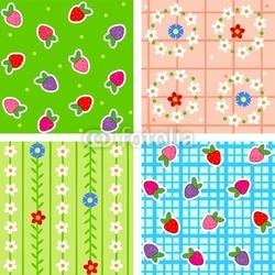 Obraz na płótnie canvas dwuczęściowy dyptyk bez szwu wzorów z jagodami i kwiatami
