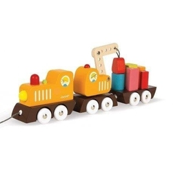 Drewniany pociąg z dźwigiem i klockami janod