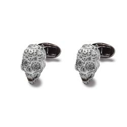 Eleganckie białe spinki do mankietów w kształcie czaszki