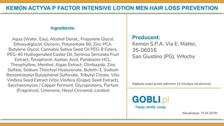 Kemon actyva p factor intensive lotion przeciw wypadaniu włosów dla mężczyzn 50ml