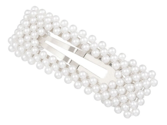 Spinka do włosów perełki perły prostokątna srebrna
