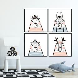 Komplet czterech plakatów - be yourself , wymiary - 30cm x 30cm 4 sztuki, kolor ramki - biały