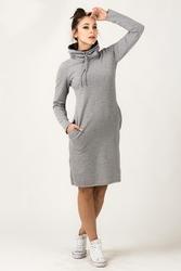 Dresowa dwukolorowa sukienka z golfem kaja szara