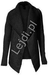 Czarny dziergany sweter - narzutka z kożuszkiem