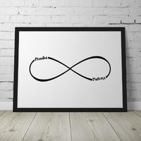 Nieskończoność - personalizowany plakat dla pary , wymiary - 30cm x 40cm, kolor ramki - biały