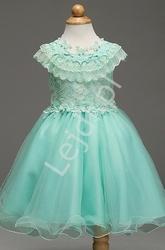 Turkusowa sukienka z koronką dla dziewczynki