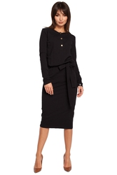 Luźna bawełniana sukienka midi ze złotymi napami czarna b024