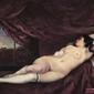 leżąca, naga kobieta -  gustave courbet ; obraz - reprodukcja