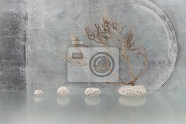 Obraz martwa natura z gałęzi i kamieni