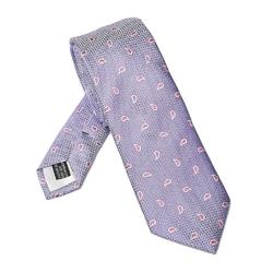 Elegancki DŁUGI fioletowy krawat Van Thorn w różowe paisley