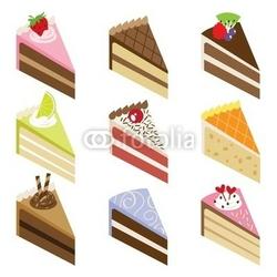 Obraz na płótnie canvas czteroczęściowy tetraptyk pyszne plastry ciasta