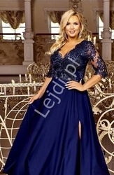 Granatowa wieczorowa suknia plus size z cekinami - crystal 34