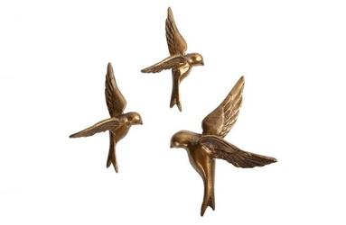 Be pure zestaw trzech metalowych ptaków antyczny mosiądz 800004-b
