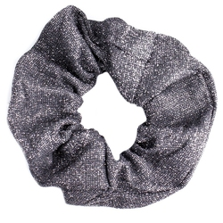 Gumka do włosów srebrna scrunchie brokat