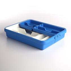 Wkład na sztućce przegródki do szuflady  organizer kuchenny tontarelli regulowana szerokość 32-55 cm, biało-niebieski