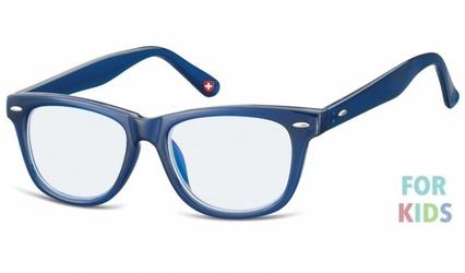 Dziecięce okulary z filtrem niebieskim do komputera zerówki nerdy kblf1b granatowe