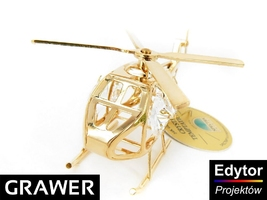 Helikopter swarovski pamiątka chrzest roczek z grawerem dedykacja tabliczka niebieska kokardka
