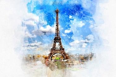 Paryż akwarele - plakat wymiar do wyboru: 70x50 cm