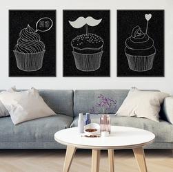 Muffins design black - komplet plakatów , wymiary - 30cm x 40cm 3 sztuki, kolor ramki - biały