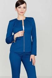 Niebieski elegancki żakiet z wytłaczanym wzorem z suwakami