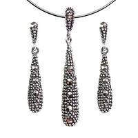 Una komplet srebrnej biżuterii kolczyki wisiorek markazyty długie wiszące