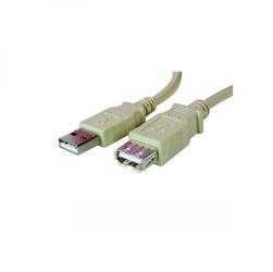 Kabel usb 2.0, usb a  m- usb a f, 3m, szary, logo