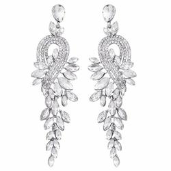 KOLCZYKI długie WISZĄCE kryształy ŚLUBNE srebrne - SREBRNE