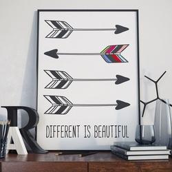 Different is beautiful - plakat typograficzny , wymiary - 20cm x 30cm, ramka - czarna