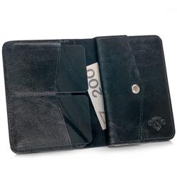 Skórzany cienki portfel męski z bilonówką solier sw15 slim czarny - czarny