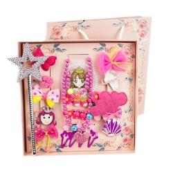 Zestaw dla dziewczynki różowy spinki gumki różdżka