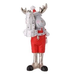 Ozdoba  dekoracja świąteczna  figurka dekoracyjna święta boże narodzenie altom design renifer w czerwonych spodenkach z prezentami 17 cm