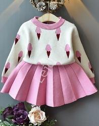 Komplet dla dziewczynki lody, spódniczka + sweterek 040