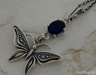 Motyl - srebrny wisiorek z szafirem