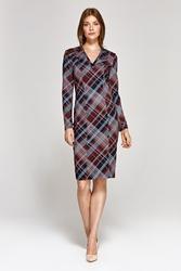 Elegancka ołówkowa sukienka - kratka