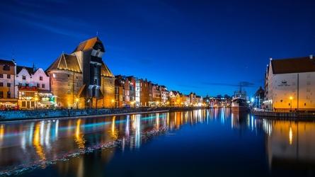 Gdańsk nocą - plakat premium wymiar do wyboru: 29,7x21 cm