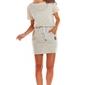 Beżowa wygodna sukienka z troczkami w pasie w paski