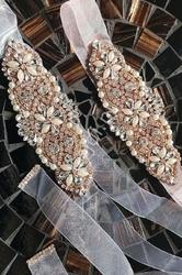 Biały przezroczysty pasek ozdobny z perełkami i kryształkami - rose gold p848 - organza
