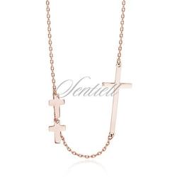 Srebrny naszyjnik pr.925 krzyże różowe złoto - różowe złoto