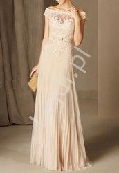 Waniliowa długa suknia z plisowanym dołem