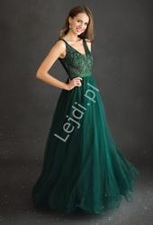 Zielona sukienka wieczorowa tiulowa z górą zdobioną koronką i perełkami 2217