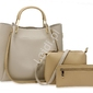 Torebka damska szara z beżowymi wstawkami   duża torebka w zestawie z listonoszką i saszetką 0610