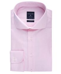 Elegancka koszula męska taliowana slim fit w różową krateczkę 38