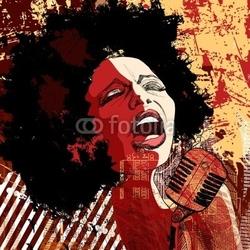 Naklejka samoprzylepna piosenkarz jazzowy na tle grunge